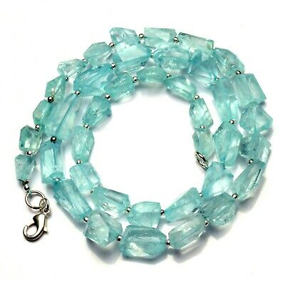 Natural Gemstone Aquamarine Faceted Nugget Beads Necklace 19.5 Inches 197Cts.