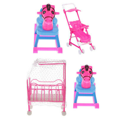Mini Baby Doll Crib Bed & Rocking Horse & Stroller Kids Pretend Play Toys