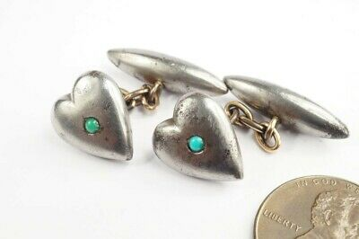 ANTIQUE LATE VICTORIAN ENGLISH GUN METAL TURQUOISE PUFFED HEART CUFFLINKS c1900