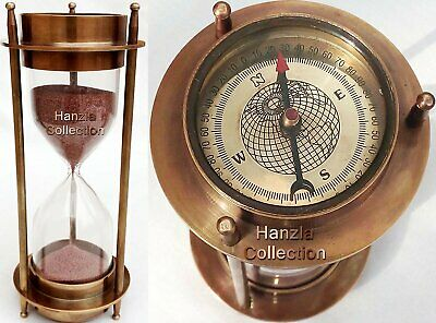 "7"" Nautical Brass Sand Timer Hourglass with Maritime Brass Compass Table Decor"