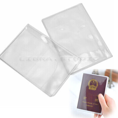 2x Transparent Passport Ticket Credit Card Journey Travel Cover Case Protector