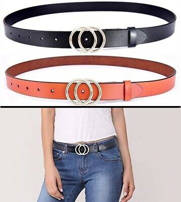 Genuine Leather Women Double O-Style Gold Buckle Slim Belts For Jeans Pants NEW