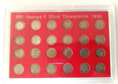 George V 1911-1936 Set Of Silver Three Pence Coins In Display Case