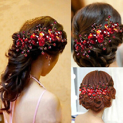BL_ Women's Red Flower Wedding Bridal Party Accessory Handmade Hair Pin Clip New