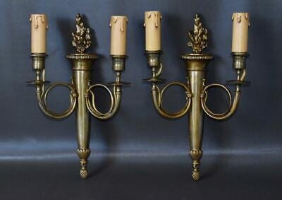 Pair of French Ormolu Bronze Wall Sconces with Hunting Horns and Torch Flam
