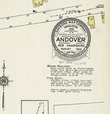 Andover, New Hampshire~Sanborn Map© sheet~1 map~1923 in color