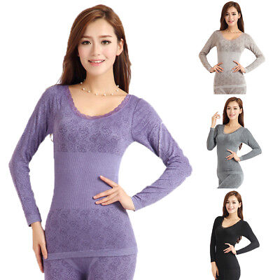BL_ Women Winter Thermal Underwear High Elasticity Top Long Johns Pajama Set New
