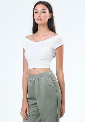 41c495537ab7b BEBE WHITE CHIFFON Inset Textured Cropped Crop Sexy Top New Nwt ...