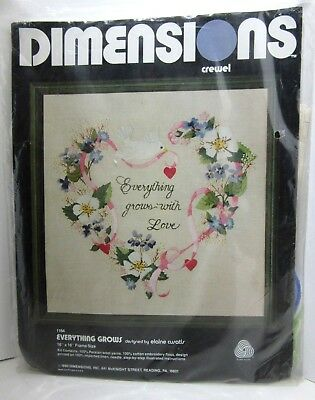"1980 Dimensions ""Everything Grows w/ Love"" Linen Crewel Kit 16x16 Hearts Floral"