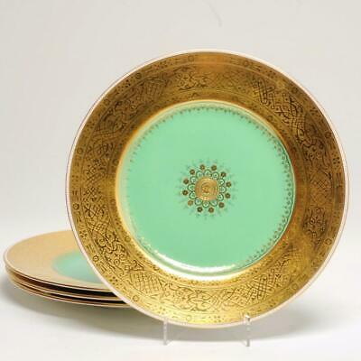 Set Of 4 Minton Gold Encrusted Dinner Plates For Thomas Goode & Co. London
