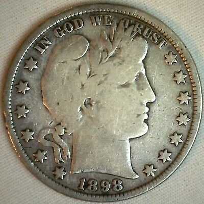 1898 Barber Half Dollar Silver US Type Coin Fifty Cent 50 Cents VG Very Good K