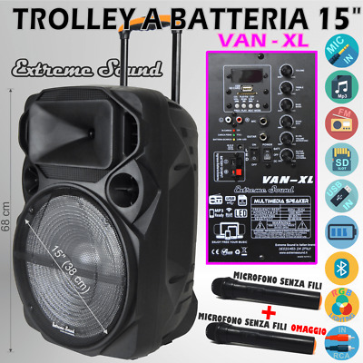 "Cassa Portatile Amplificata 1000W 12"" Bluetooth + Radio Usb/sd + Display Pa 1000"