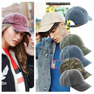 Beechfield Vintage Baseball Cap Low Profile Hat Pre Curved Womens Mens (B655)