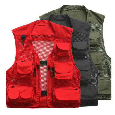 BL_ Men Multi-Pocket Mesh Outdoor Summer Fishing Photography Thin Vest Jacket La