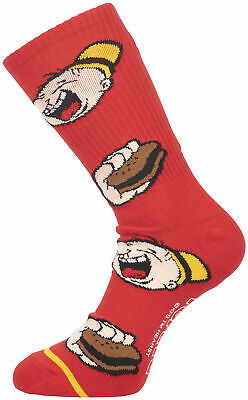 "Men/'s Graphic Print Sock Red HUF Worldwide x Popeye /""Wimpy/"" Crew Socks"