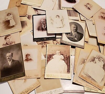 Lot of 39 Antique Cabinet Card Photographs Vintage Photos Pictures 1880s 1890s