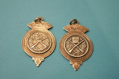 2 X VINTAGE Sterling Silver Medals Engraved Rifle Shooting Approx  4 cm x  2 2 cm