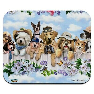 Dogs Outdoors on Fence Pattern Low Profile Thin Mouse Pad Mousepad