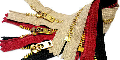 25 pcs Jeans Zipper YKK ® #5 Brass Closed Bottom Available in 7,9 or 11 Inch