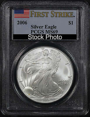 2006 American Silver Eagle PCGS MS-69 First Strike Flag Label -169351