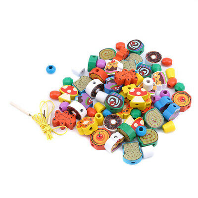3D Wooden DIY String Beads Animal Toy Colorful Baby Early Education Toy Kid S