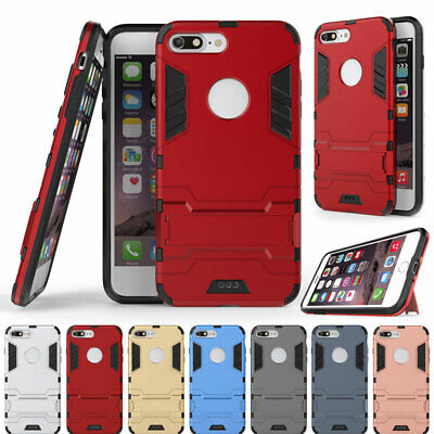 For iPhone 7 Plus Shockproof Hybrid Dual Layer Rugged Silicone Stand Case Cover