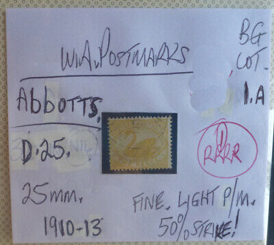 Old West Australia Postmark On Swan Stamp Abbotts 1910-13