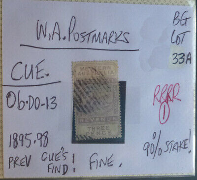 Old West Australia Postmark On Swan Stamp Cue 1895-98