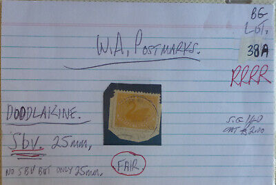 Old West Australia Postmark On Swan Stamp Doodlake