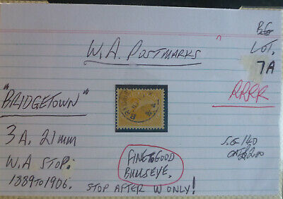 Old West Australia Postmark On Swan Stamp Bridgetown 1889-1906 #1