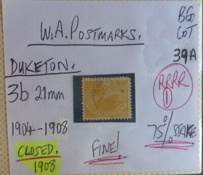 Old West Australia Postmark On Swan Stamp Duketon 1904-08