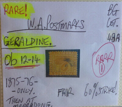 Old West Australia Postmark On Swan Stamp Geraldine 1875-76