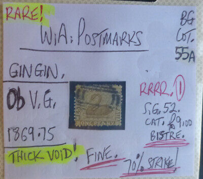 Old West Australia Postmark On Swan Stamp Gingin 1868-75