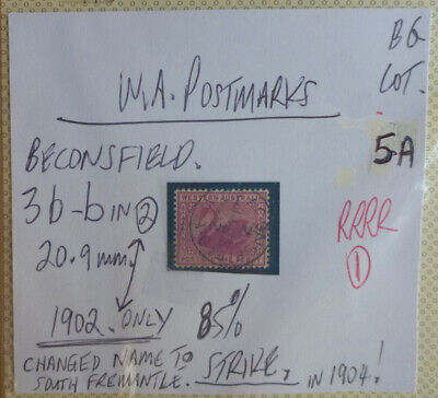 Old West Australia Postmark On Swan Stamp Beaconsfield 1902