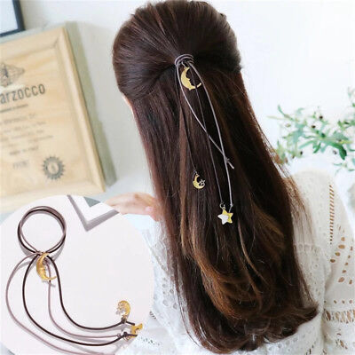 Women Ladies High Elastic Rubber Band Hair Ties Ring Rope Band Long Style Ribbon