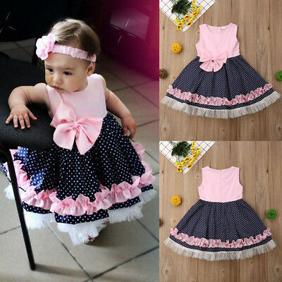 Toddler Girls Newborn Baby Clothes Ruffles Party Pageant Birthday Summer Dress