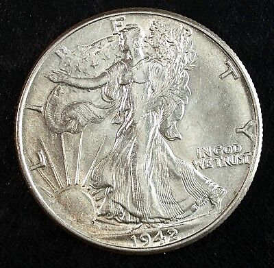 1942 P Walking Liberty Silver Half Dollar ☆☆ Almost UnCirculated ☆☆ 42E