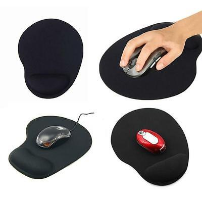 Anti-Slip Black Mouse Pad / Mat with Gel Wrist Support for PC Macbook Laptop
