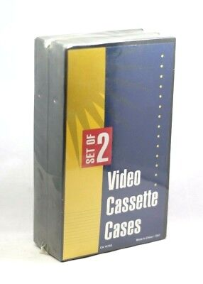 2 NEW Black VHS Tape Storage Cases Empty Clamshell BNIB Old Stock