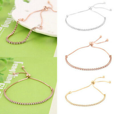 Fashion Women Rhinestone Cubic Bracelet Adjustable Bangles Bracelet Jewelry Gift