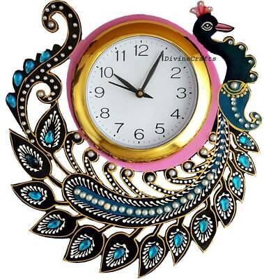 Handcraft Wooden Bird Peacock Clock Handmade Stone Work Wall Clock Home Decor