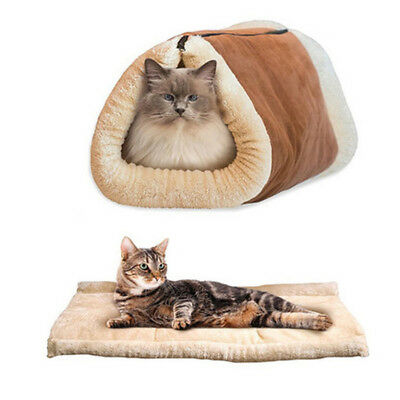 Pet Cat Dog House Kennel Puppy Cave Sleeping Bed Super Soft Mat Pad Warm Nest z