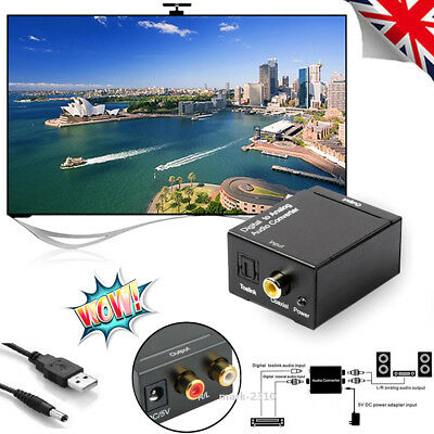 1080P Digital to Analog RCA L/R Audio TV Converter Coaxial Coax Optical Adapter