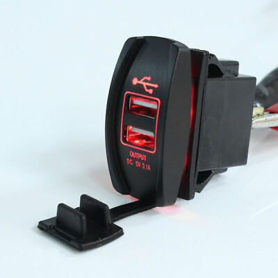 12V&24V Car Truck Boat UTV Red LED Backlit Dual USB Charger Rocker Switch Panel