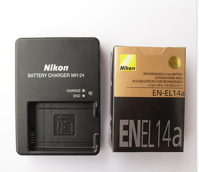 EN-EL14A Battery 1230mAh + MH-24 Charger For Nikon Camera Coolpix D3100 D5100
