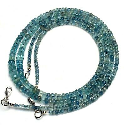 """Natural Gem Moss Aquamarine 3 to 6MM Size Faceted Rondelle Beads Necklace 17"""""""