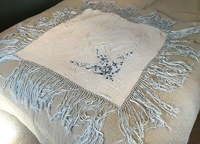 Vintage Chinese Cantonese Macrame Edge Silk Floral Embroidered Piano Shawl 6