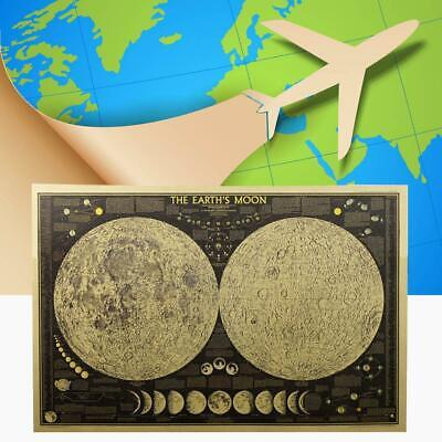 Vintage Retro Paper Earth Moon World Map Poster Wall Home Bedroom Home Decor UK