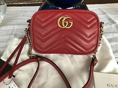 9bbc9d69b92d New Gucci GG Marmont Camera mini quilted leather shoulder bag in red leather