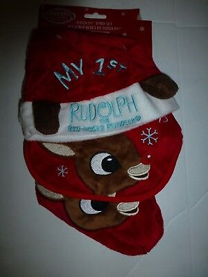 f189cb0599f Rudolph Babys First 1st Christmas Red Hat Bib Mini Stocking 3 Piece Set New